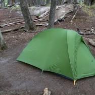 Zeltplatz für die erste Nacht im gut geschützten Campamento Poincenot