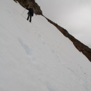 das Schneefeld war dann doch steiler als es von unten aussah